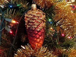 Autumn Fall Colors Red Burgundy Orange Pine Cone Hand Painted Glass Ornament