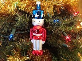Red White and Blue Toy Soldier Hand Painted Glass Ornament [Kitchen]