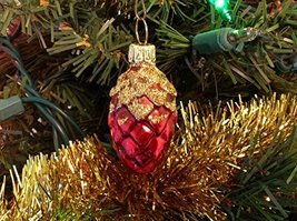 Smalll Red and Gold Pine Cone Hand Painted Glass Ornament [Kitchen]