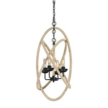 "Iron & Rope Restoration Industrial Modern Nautical Chandelier Light  Pendant 35"" - $313.00"