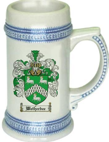 Wetherbee Coat of Arms Stein / Family Crest Tankard Mug