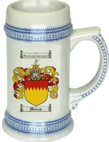 Dieres Coat of Arms Stein / Family Crest Tankard Mug