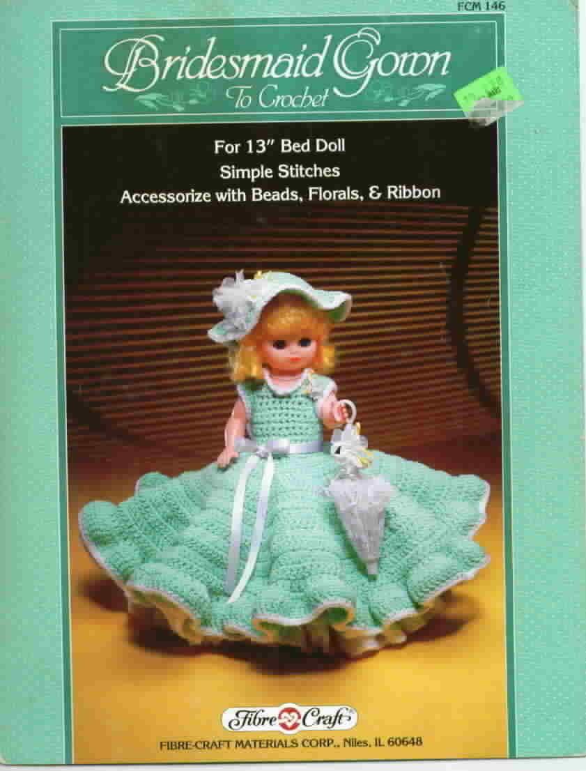 Fibre Craft Bridesmaid Gown Crochet Bed Doll Bonanza