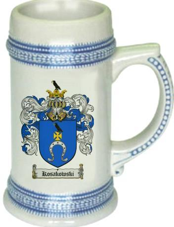 Kosakowski Coat of Arms Stein / Family Crest Tankard Mug