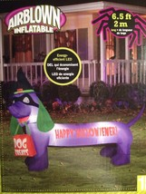 Happy Halloween Purple Lighted Dachshund Dog Airblown Inflatable Witch -... - $63.18 CAD