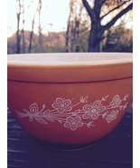 Vtg Small Pyrex Bowl Butterscotch Floral 401 Corning Oven Ware#24 Nestin... - $15.83