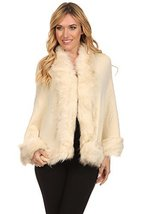 ICONOFLASH Women's Faux Fur Trim Cold Weather Sweater Poncho Cape, Beige - $59.39