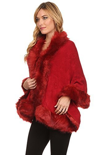 Primary image for ICONOFLASH Women's Faux Fur Trim Cold Weather Sweater Poncho Cape, Burgundy