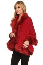 ICONOFLASH Women's Faux Fur Trim Cold Weather Sweater Poncho Cape, Burgundy - $59.39