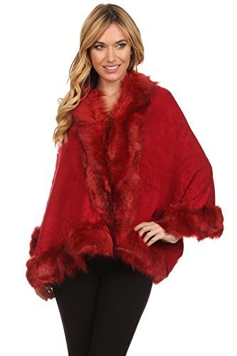 Primary image for ICONOFLASH Women's Faux Fur Trim Cold Weather Sweater Poncho Cape, Coffee
