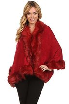 ICONOFLASH Women's Faux Fur Trim Cold Weather Sweater Poncho Cape, Coffee - $59.39