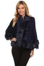 ICONOFLASH Women's Faux Fur Trim Cold Weather Sweater Poncho Cape, Navy Blue - $59.39