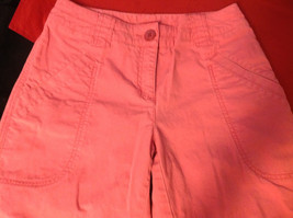 Hanna Anderson Womens Pink Denim Cargo Pocket 3/4 Length Capri Pants size 10 image 7