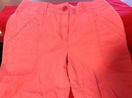 Hanna Anderson Womens Pink Denim Cargo Pocket 3/4 Length Capri Pants size 10 image 4
