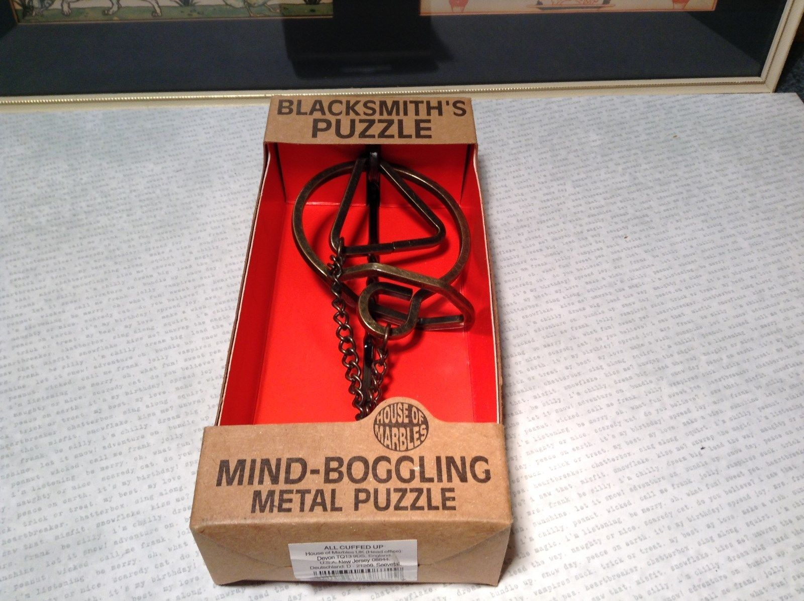 NEW Blacksmith Puzzle Mind Boggling Metal Puzzle All Cuffed Up