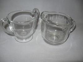 Clear Glass Heavy Sugar Bowl Pedestal Base & Round Base Creamer - $9.95