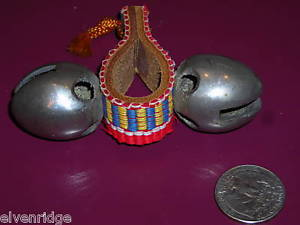 Primitive heavy toy bells  leather strap woven textile