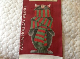 Red Cotton kitchen Towel christmas cat wrapped in scarf Warm Holiday Wishes