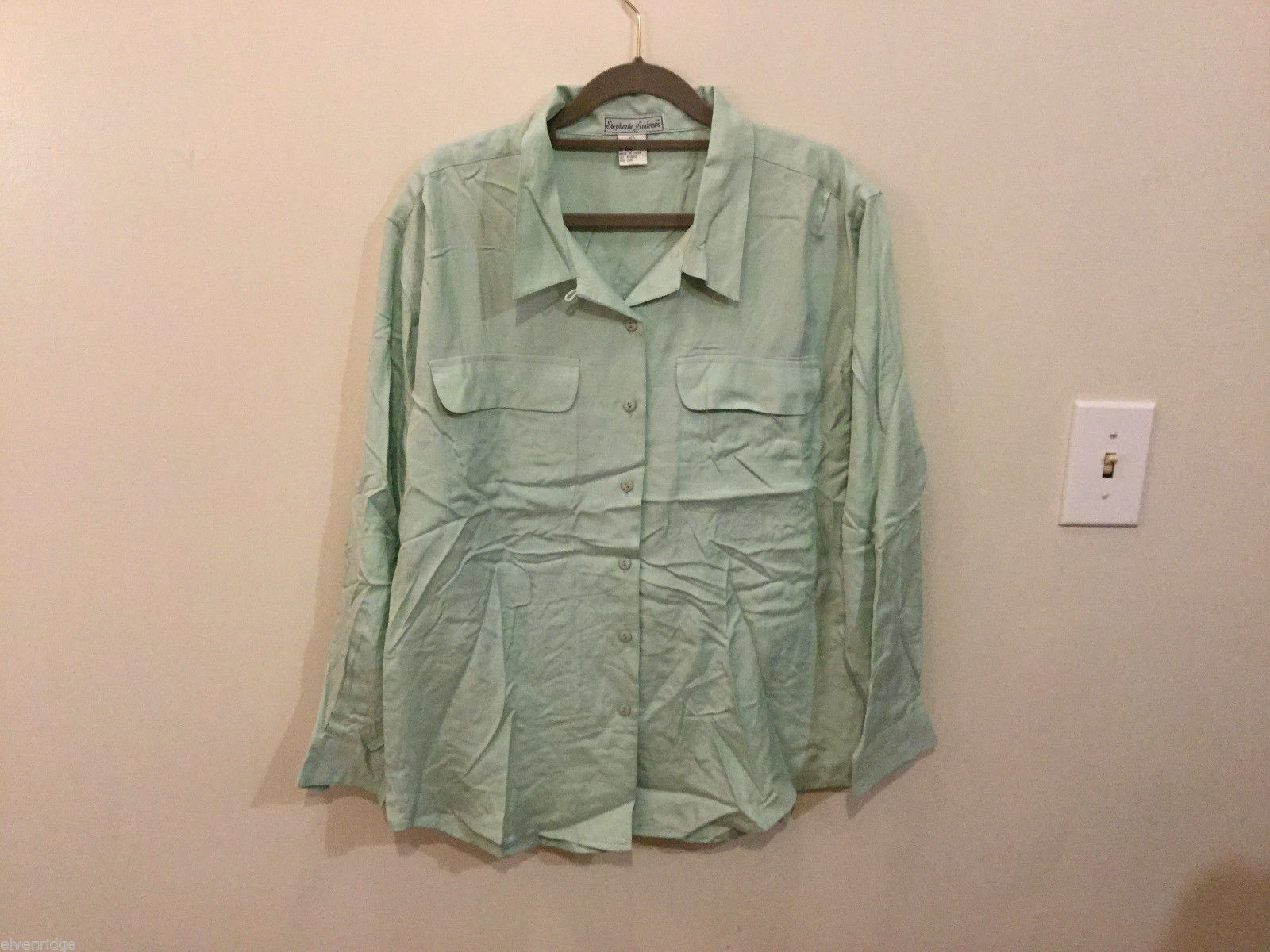 Stephanie Andrews Ladies Mint Green 100% Silk Buttons Down Blouse Shirt, Size M