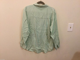 Stephanie Andrews Ladies Mint Green 100% Silk Buttons Down Blouse Shirt, Size M image 3