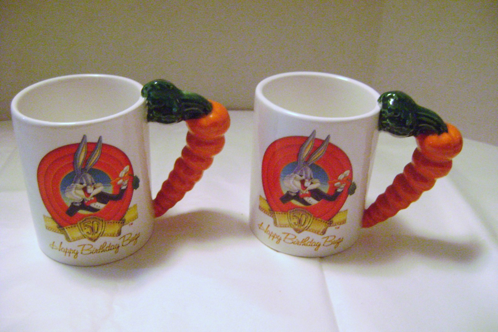 Primary image for Bugs Bunny 50th Anniversary Mugs with Carrot Handles