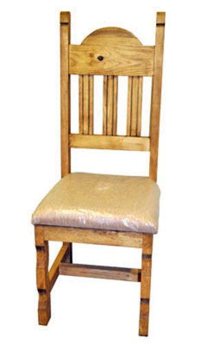 Rustic Plain Padded Seat Chair Solid Wood Western Lodge Simple Design Cabin