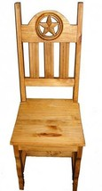 Rustic Wood Seat Open Star Chair Solid Wood Western Lodge Cabin - $202.95