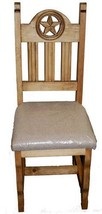 Rustic Padded Seat Open Star Chair Solid Wood Western Cabin Lodge Dinnin... - $212.85