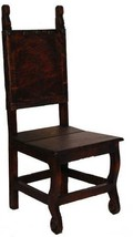 Rustic Dark Yucatan Dining Chair Solid Wood Western Cabin Lodge Dining Room - $242.55