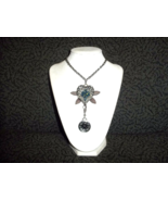 Steampunk Dragonfly, heart with fake clock necklace - $20.00