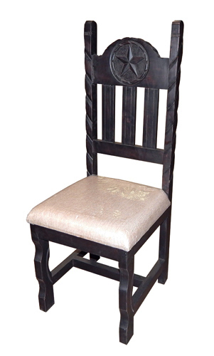 Rustic Dark Rope Padded Seat Star Chair Solid Wood Western Cabin Lodge Dinning