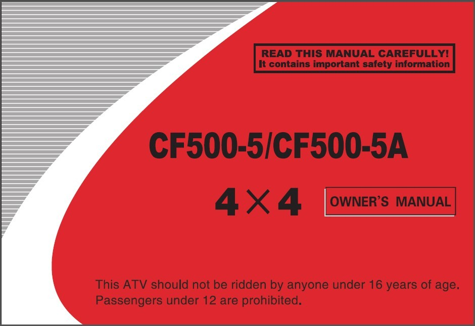 CFMoto CForce 500 CF500-5 / CF500-5A Service Repair & Owner's Manual CD