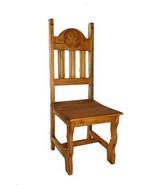 Rustic Wood Seat Star Chair Solid Wood Western Cabin Lodge Dinning Room - $202.95