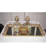 Antique Vintage Art Deco Ormolu Brass Filigree Dresser Vanity Set Tray P... - $475.00
