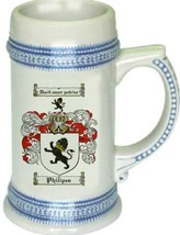 Philipes Coat of Arms Stein / Family Crest Tankard Mug - $21.99