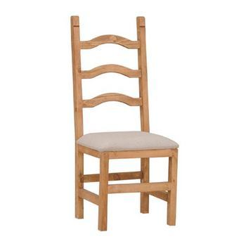 Rustic Padded Seat Ladder Back Chair Solid Wood Western Cabin Lodge Dinning Room