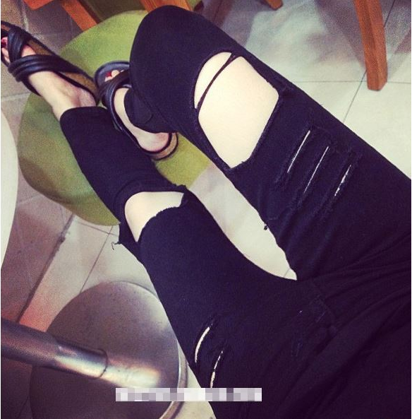 High Waist Skinny Pencil Pants Ripped Jeans