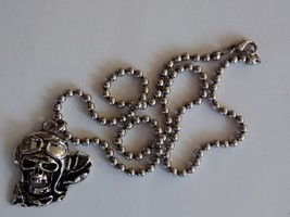 spooky skull pilot pendant and chain-stainless steel - $14.95