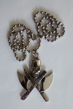 skull and axes pendant and chain-stainless steel - $14.95