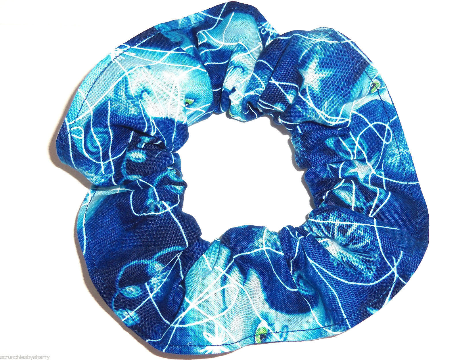 Primary image for Hair Scrunchie Moon Shine Blue Fabric Tie Ponytail Holder Scrunchies by Sherry