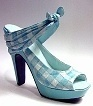 Picnic Blue and White Checked Gingham Shapely Platform Sole Just the Right Shoe