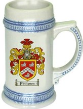 Philipson Coat of Arms Stein / Family Crest Tankard Mug - $21.99