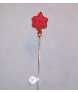 """HP-39 - Carved Red Cinnabar Flower Bead 7"""" Vict... - $9.16"""