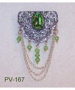 Glass Faceted Peridot Rhinestone Filigree Broo... - $22.77
