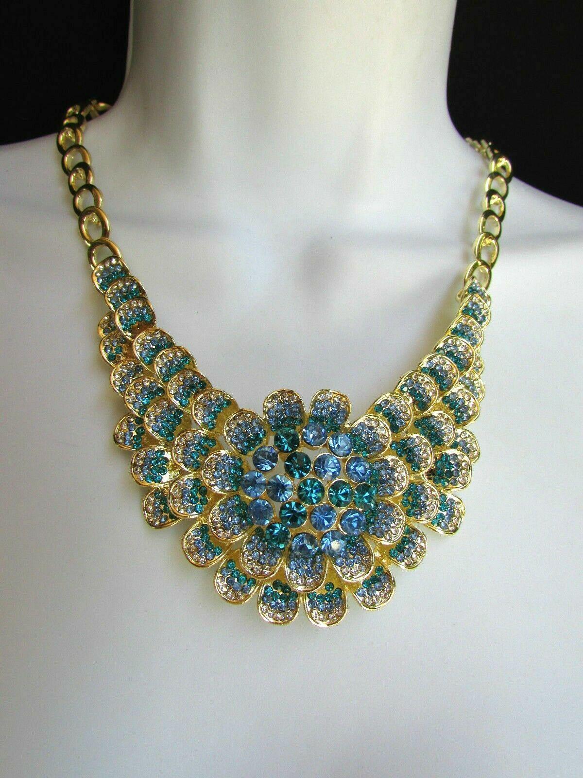 Nuevo Mujer Grande Dorado Flor Tendencia Jewelry Azul Diamantes Collar