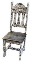 Rustic White Scrape Plain Chair Solid Wood Western Cabin Lodge Dinning Room - $232.65