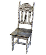 Rustic White Scrape Plain Chair Solid Wood Western Cabin Lodge Dinning Room - £175.92 GBP