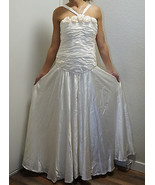 Cream Ruched Ivory Silk Charmeuse Couture Evening Gown Or Wedding Dress - $133.49