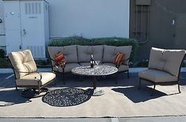 Santa Anita Outdoor Patio 4pc Seating Group Cast Aluminum, Sunbrella Cus... - $2,222.55