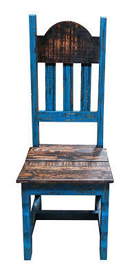 Rustic Scrape Turquoise Wood Plain Chair Solid Wood Western Cabin Lodge Dinning
